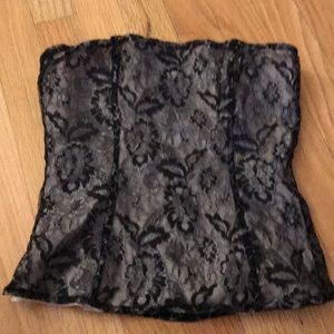 Express size XS Black and silver lace corset top